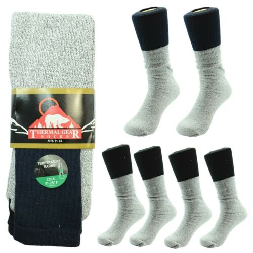 3 Pairs THERMAL GEAR Men Socks Fits 9-15  Winter Outdoor Hiking Socks 1NY//2BK