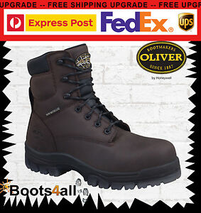 Image is loading Oliver-Safety-Work-Boots-Brown-Lace-Up-METAL-