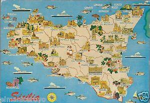 Cartina Mappa Sicilia.Cartolina Sicilia Mappa Cartina Costumi Storia Attivita Trasporti Monumenti Nc Ebay