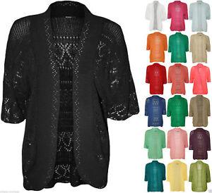 Ladies-Crochet-Knit-Lot-Plus-Size-Short-Manche-Open-shrug-bolero-cardigan-14-30