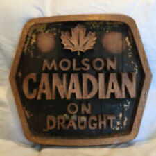 """Collectible Molson Canadian On Draught  22 x 20""""  Wood Carved Bar Sign Man Cave"""