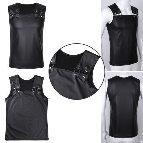 Männer Muskel Shirt Wetlook Herren Unterhemd T-Shirt Tops Clubwear Weste M-XXL