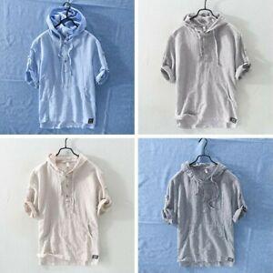 premium selection e01d4 8bc19 Dettagli su Uomo Lino Righe con Cappuccio T-Shirt Maglietta Maniche Corte  Traspirante Felpa