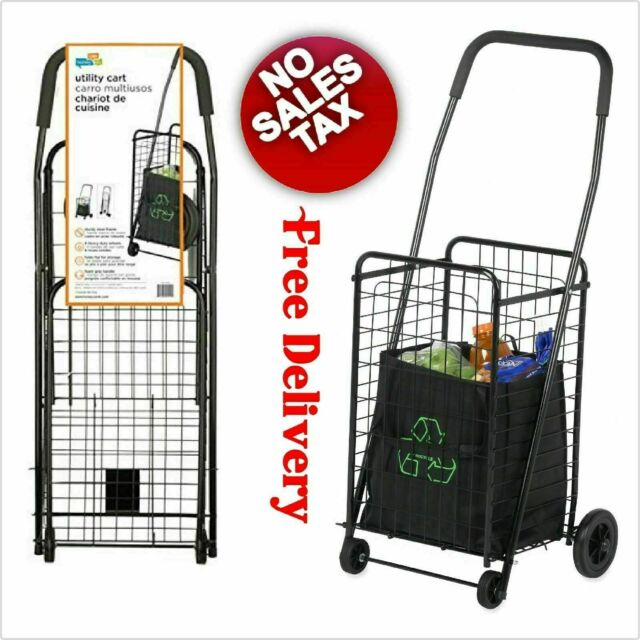 7467c8a45b7b 4 Wheel Folding Utility Cart With Wheels Grocery Shopping Bag Collapsible  Sports