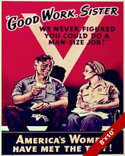 UNITED STATES WOMEN DOING MENS JOBS WWII PROPAGANDA POSTER REAL CANVAS ART PRINT