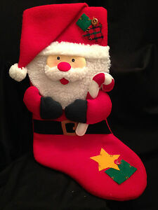 image is loading santa claus country christmas stocking candy cane faux - Country Christmas Stockings