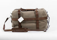 New. Brunello Cucinelli Brown Leather/canvas Shoulder Weekend Bag $2170