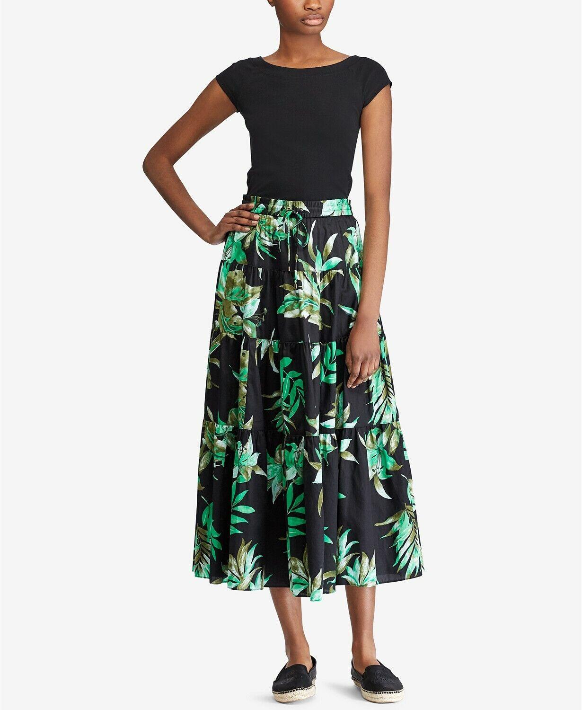 Ralph Lauren (JN9252-55) Cotton Pull-On Green Leaf Print Midi Skirt  Sz M  135