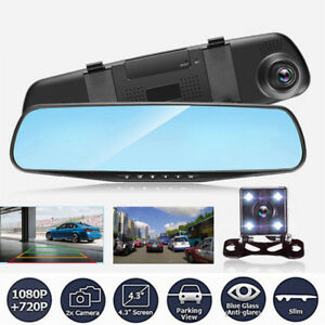 5V 1080p Doppel Linse Auto KFZ DVR Spiegel Dashcam Recorder+Rückfahrkamera Neu
