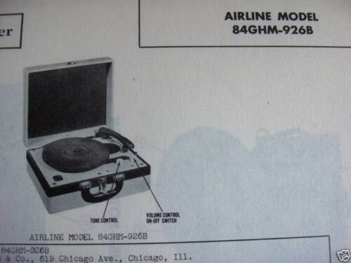 AIRLINE 84GHM-926B RECORD PLAYER PHONOGRAPH PHOTOFACT