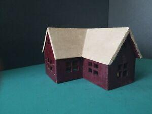 Vintage-Wooden-Putz-House-Village-Hand-Made-Lionel-Train-Town-Set-Up-Primative