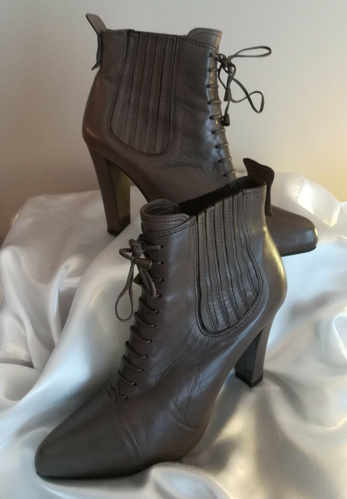 THE SELLER - BOTTINES CUIR FEMME - CUIR BOTTINES GRIS FONCÉ - POINTURE 37 b93c85