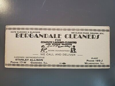 1920s Antique Vntg Advertising Ink Blotter White Bergandale Cleaners Gardner IL