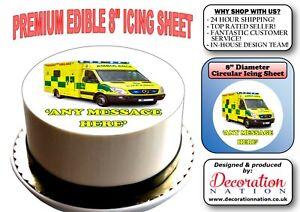 AMBULANCE PERSONALISED EDIBLE ICING BIRTHDAY CAKE TOPPER /& 8 VAN CUPCAKES