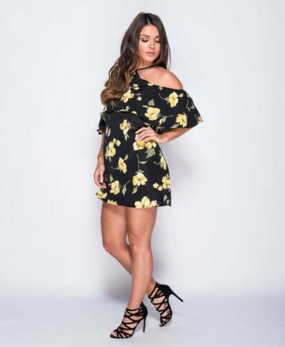 ~KHLOE~ Black /& Yellow Floral Rose Celeb Evening Flare Party Dress 8 10 12 14