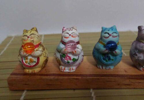 Maneki Neko Lucky Cat 5 Fatty Mini Jewel Cat Figure Set