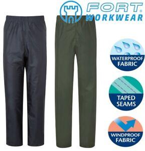 Mens-damas-impermeable-a-prueba-de-viento-lluvia-sobre-la-comodidad-de-Calidad-Pantalones-Azul