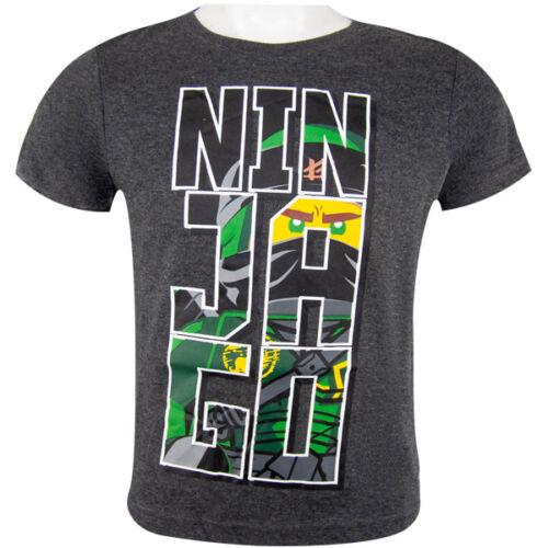 104-140 LEGO Ninjago-T-SHIRT-Shirt Maglietta a Maniche Corte-Grigio