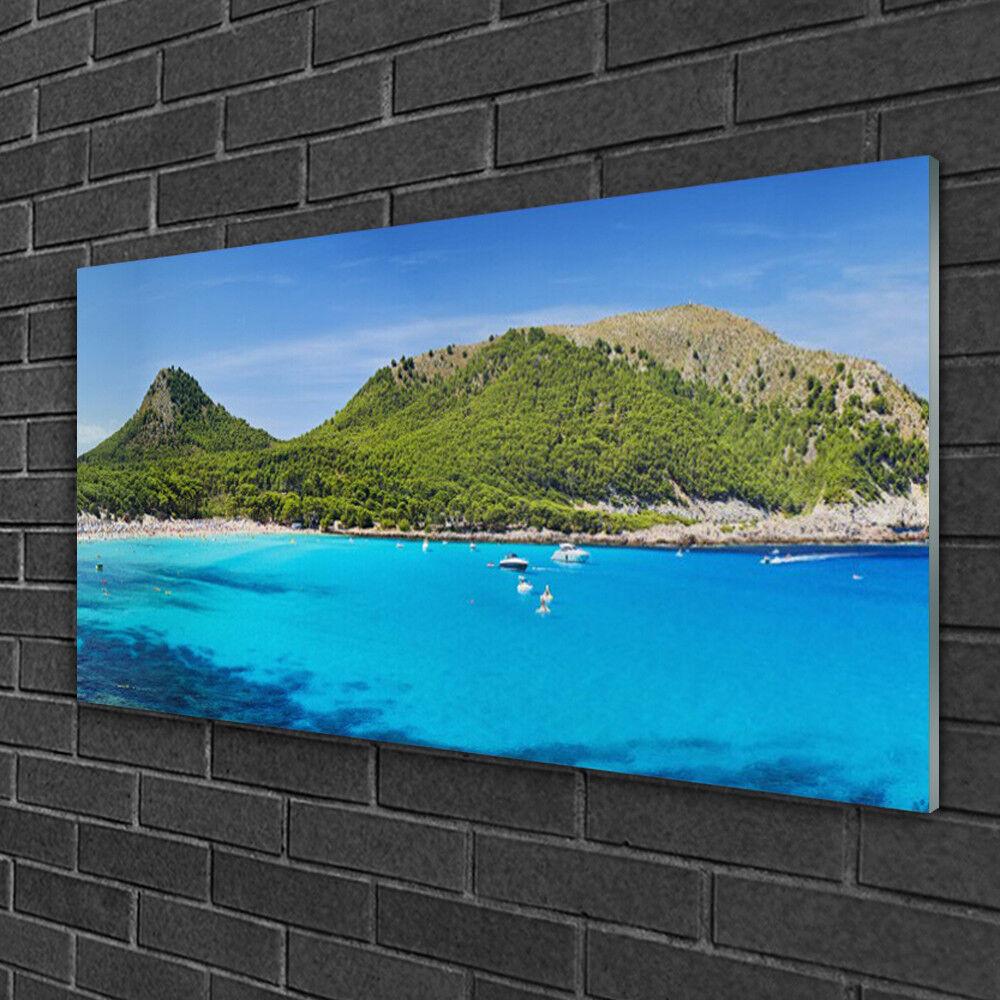Tableau sur verre Image Impression 100x50 Paysage Montagne Mer