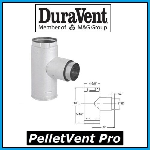 """DURAVENT PELLETVENT PRO Pipe 3/"""" Increaser Adapter Tee with Cap #3PVP-TADX4 NEW!"""