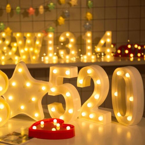 0-9 Nummer Zahl LED Buchstabe Lichter Aufleuchtend Kunststoff Stehend Wandbehang