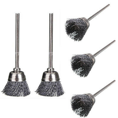 "5PCS Steel Wire Cup 20mm Dia Brush Set For Rotary Tool Grinder 1/8"" Shank HOT"