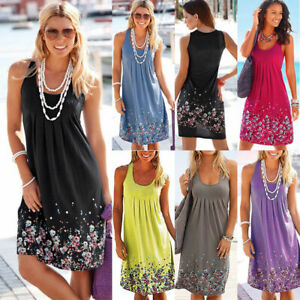 fcd4dd5be94 Image is loading Womens-Boho-Floral-Sleeveless-Ladies-Summer-Loose-Plus-