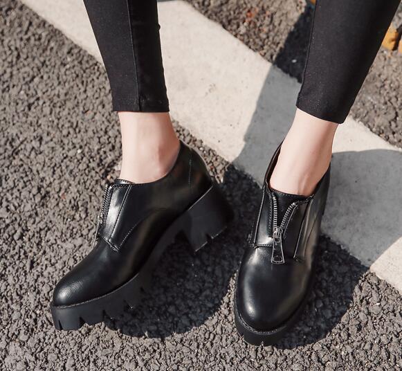 Womens Round Toe Chunky Platform Oxfords Block Mid Heels Slip On Fashion Shoes