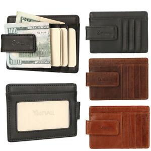 d613631555d15 Mens Leather Wallet Money Clip Credit Card ID Holder Front Pocket ...