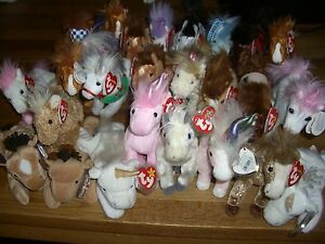 W-F-L TY Beanie Babies Horse Unicorn 15 To 7 7/8in Selection Unicorn Stuffed Toy