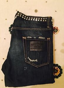 Dsquared2-Men-039-s-Studded-Jeans-Waist-34-034