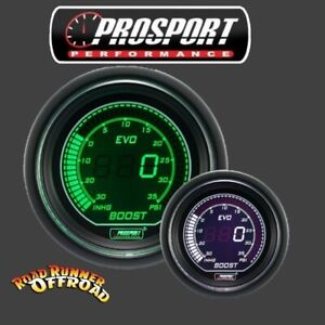 Prosport EVO Digital Boost Gauge White Green 52mm Waterproof sensor