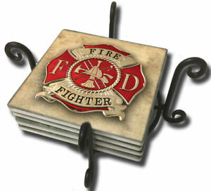 Firefighter Fireman Maltese Cross Design Tumbled Tile Coasters Set Of Five Ebay