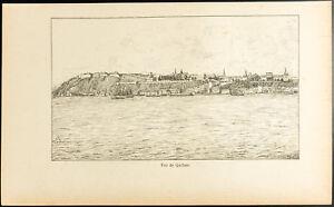 1892-Gravure-vue-de-la-ville-de-Quebec-Canada-Citadelle-Saint-Laurent