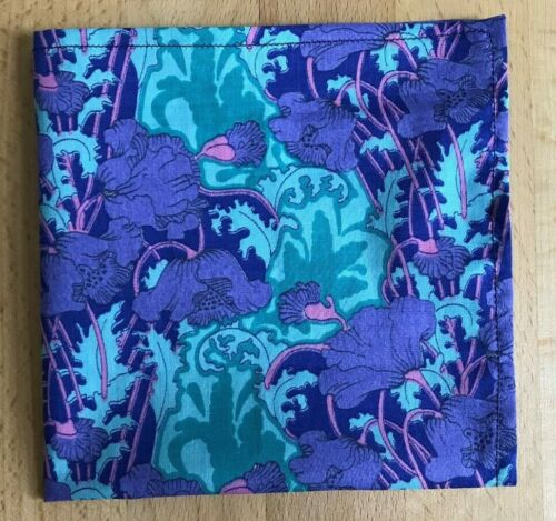 Liberty Tana lawn handkerchief hankie pocket square Clementina purple pink blue