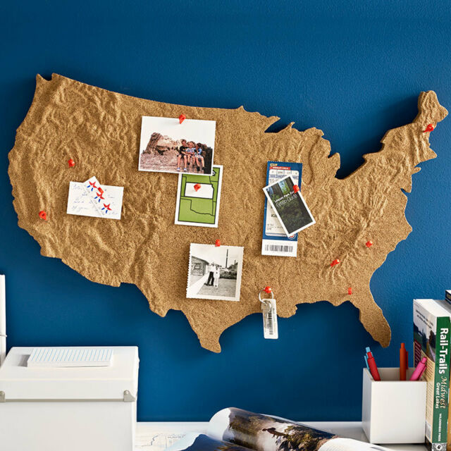 Us Map On Cork Board.Design Ideas Usa Cross Country Message Cork Board United States Map
