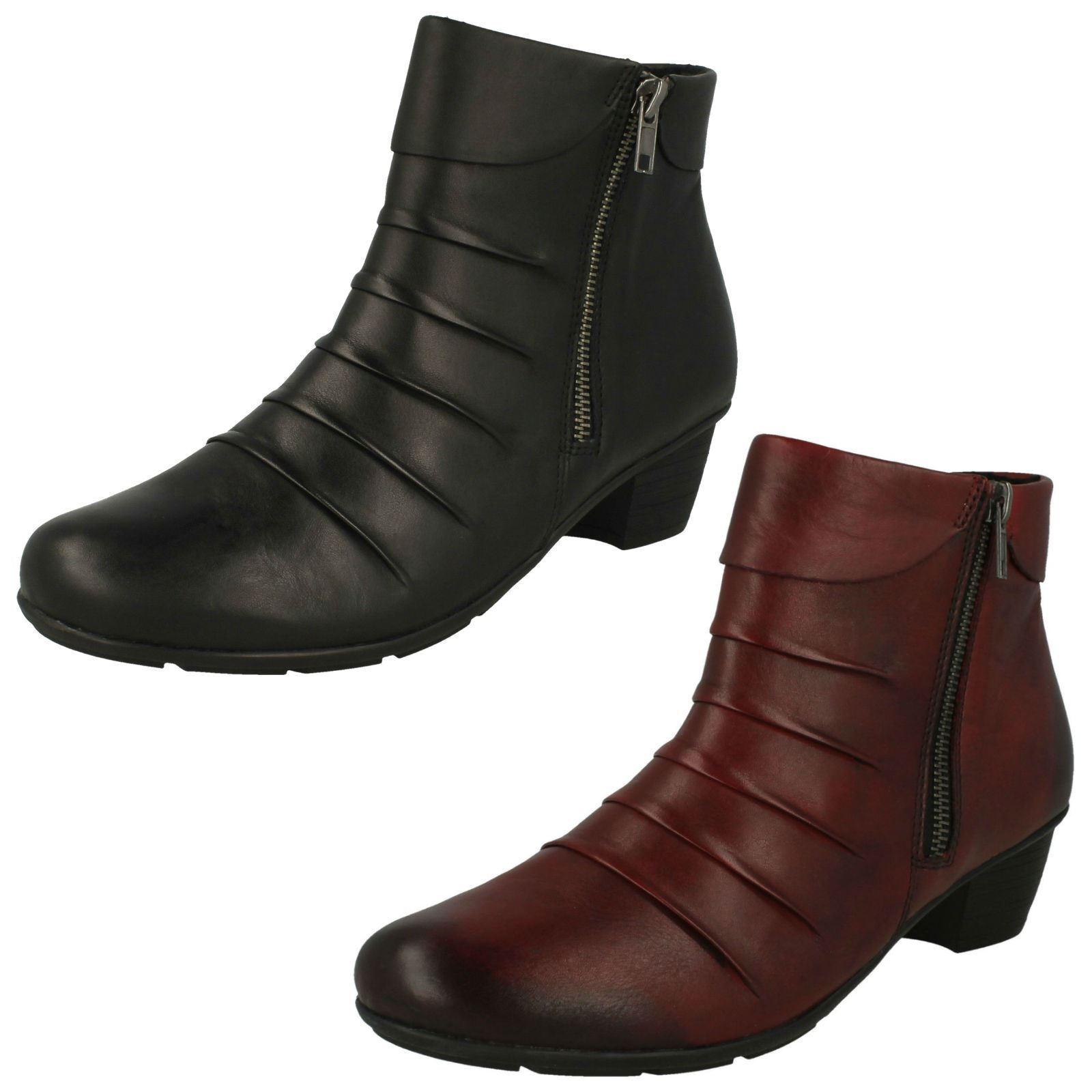 Damas Remonte R7571 Negro O Rojo Cuero Cremallera botas al tobillo