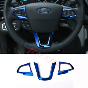 3PCS Blue Steering Wheel Button Frame Cover Trim For Ford Escape Kuga 2017-2018