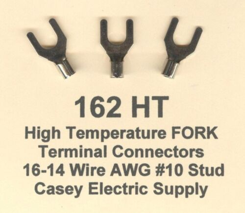 100 High Temperature FORK SPADE Terminal Connector 16-14 Wire Gauge AWG #10 Stud
