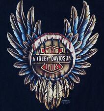 Harley Davidson 3D Emblem Large Feather Dreamcatcher T Shirt Black 1991 Vtg 90s