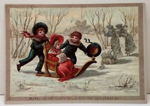 Merry-as-the-Sleigh-Bells-May-Thy-Christmas-Be-Repro-of-1874-1895-Postcard-E10