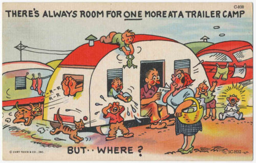 """Always Room for One More"" Travel Camper Trailer Vintage Comic Postcard"