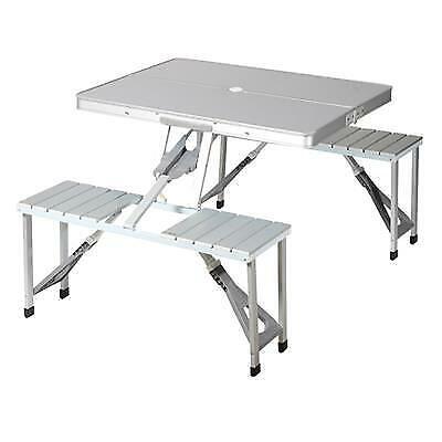 Tavolo da Picnic per Campeggio Portatile Camper con 4 Sedie Posti in Alluminio