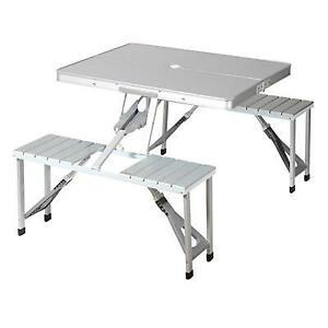 Tavolo Da Picnic.Dettagli Su Tavolo Da Picnic Per Campeggio Portatile Camper Con 4 Sedie Posti In Alluminio