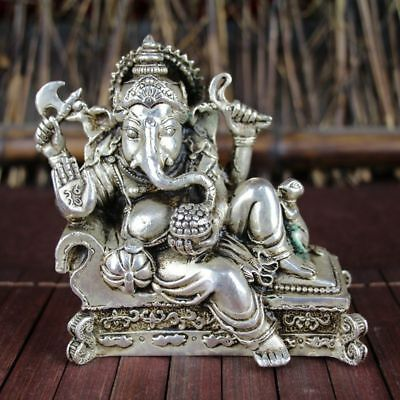 China old Feng Shui ornaments white Copper Silver plating Four hand elephant god