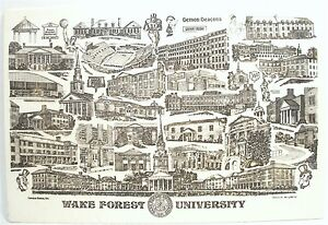 WAKE FOREST UNIVERSITY BERRY MILLER PORCELAIN ART CAMPUS SCENES MAP ...