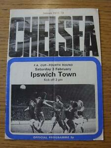 03-02-1973-Chelsea-v-Ipswich-Town-FA-Cup-team-changes-folded-Item-In-very