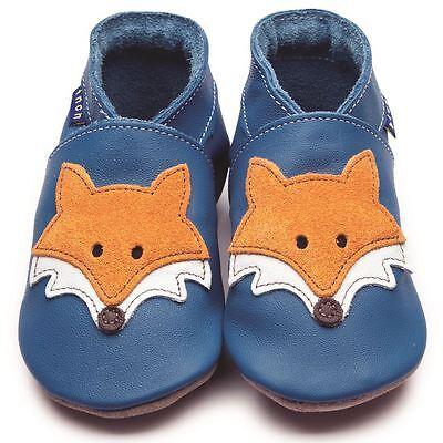 Inch Blue Baby Girls Boys Luxury Leather Soft Sole Pram Shoes - Mr Fox Blue