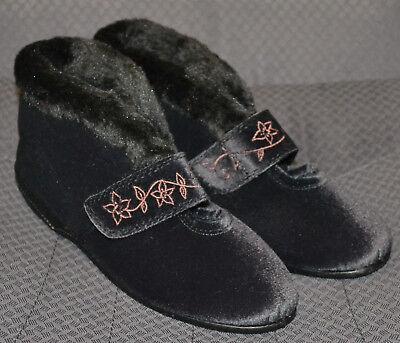 Señoras M&S fácil fijar Rip cinta botín Zapatillas-Talla 7-Carbón-Nuevo