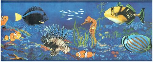 TROPICAL FISH CLOWNFISH CORAL SEAHORSE SEAWEED Wallpaper bordeR Wall decor